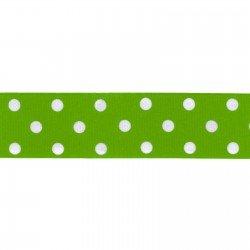Dotted Ribbon - 11/32 Polka Dot Ribbed Apple/White