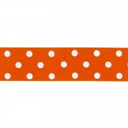 Dotted Ribbon - 11/32 Polka Dot Ribbed Orange/White