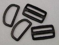Black Plastic 1 Bar Slides & D Ring