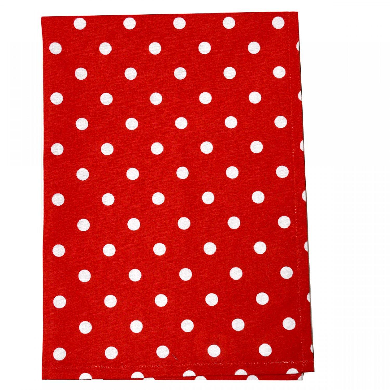 Tea Towel Polka Dot Bright Red