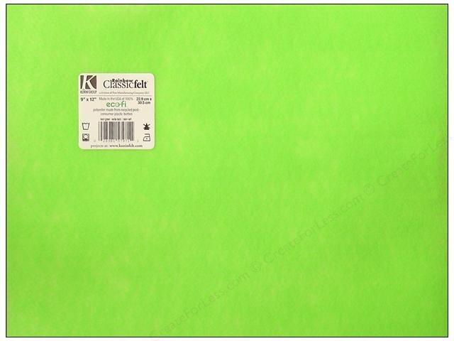 Felt Squares 9x12 Neon Green