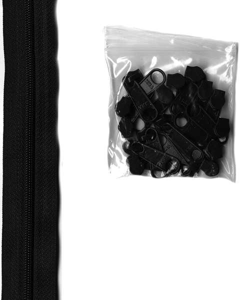 Zippers by the Yard Black