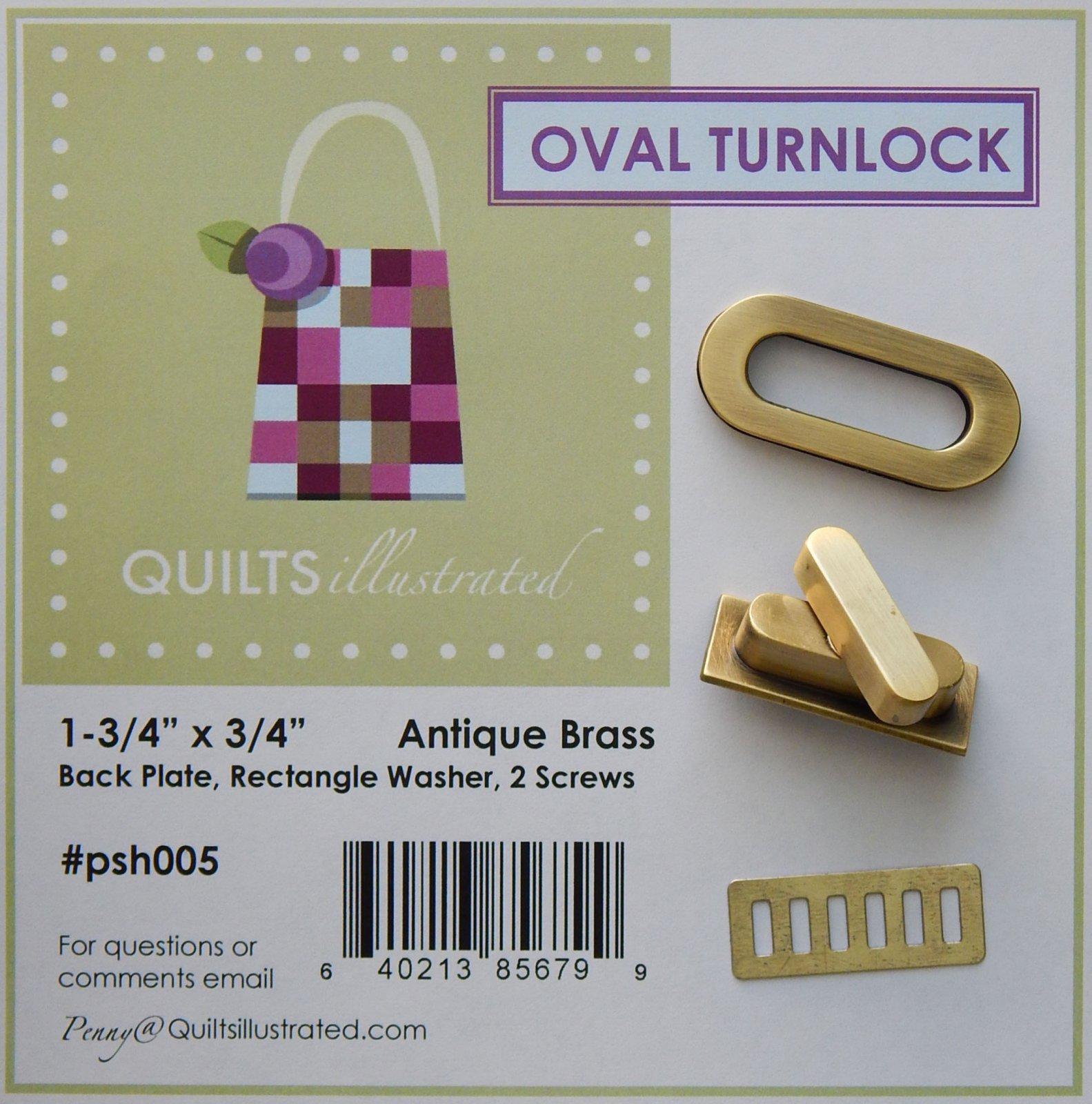 Oval Turnlock Set - Antique Brass