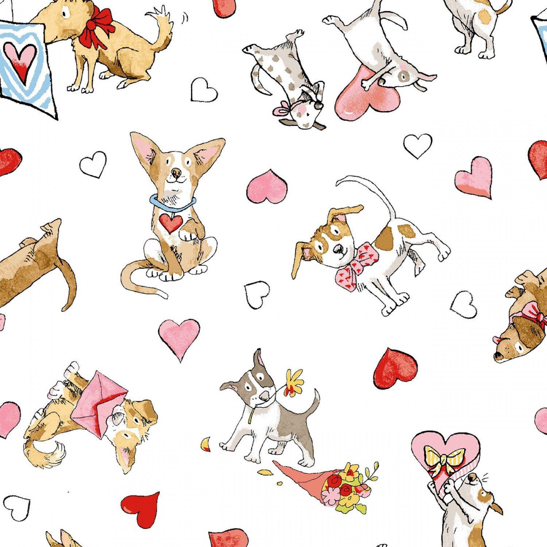 Clothworks - Puppy Love Y2308-1 White