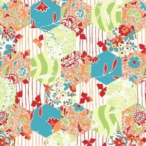 Garden Delights - Hexagons - Coral by Gray Sky Studio