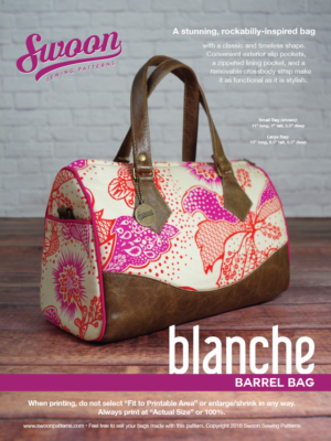 Blanche Barrel Bag pattern from Swoon Sewing Patterns by Alicia Miller