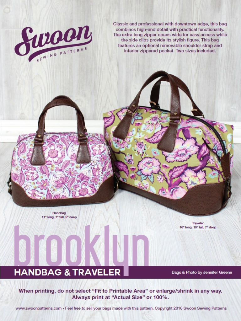 Brooklyn Handbag & Traveler pattern from Swoon Sewing Patterns by ...