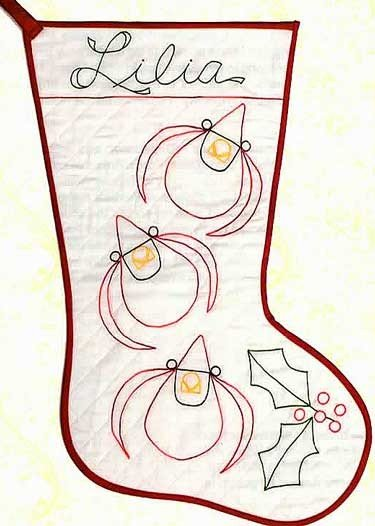 Cardinals & Holly Redwork Stocking pattern