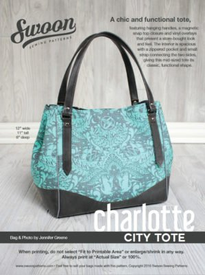 Charlotte City Tote pattern from Swoon Sewing Patterns by Alicia Miller