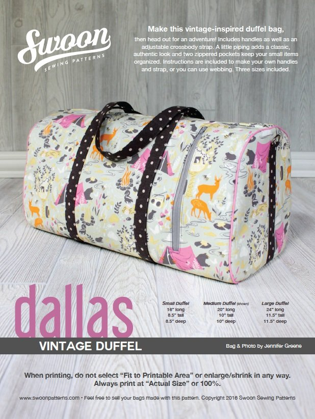 Dallas Vintage Duffle pattern from Swoon Sewing Patterns by Alicia Miller