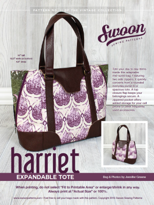 Harriet Expandable Tote pattern from Swoon Sewing Patterns by Alicia Miller
