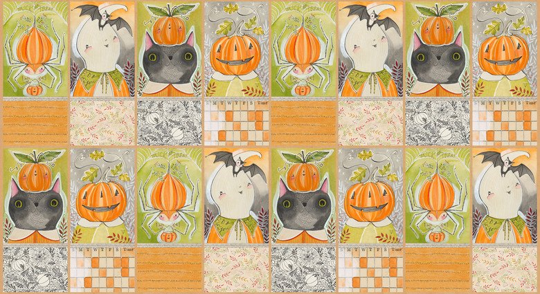 Spooky Town Pumpkins on green Cori Dantini