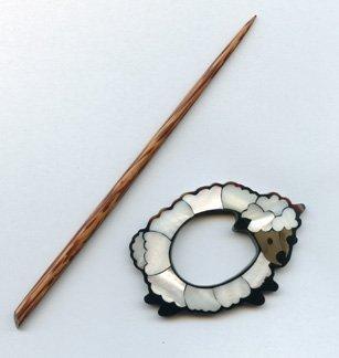 Sheep Shawl Pin - Shell
