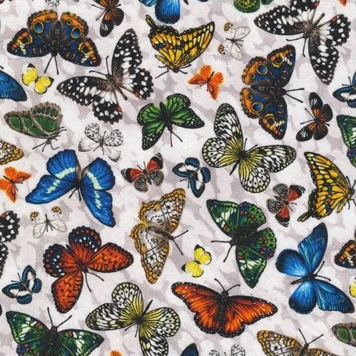 Frolicking Fields - Butterflies - Light Grey