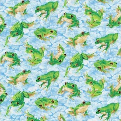 Frolicking Fields - Frogs - Light Blue