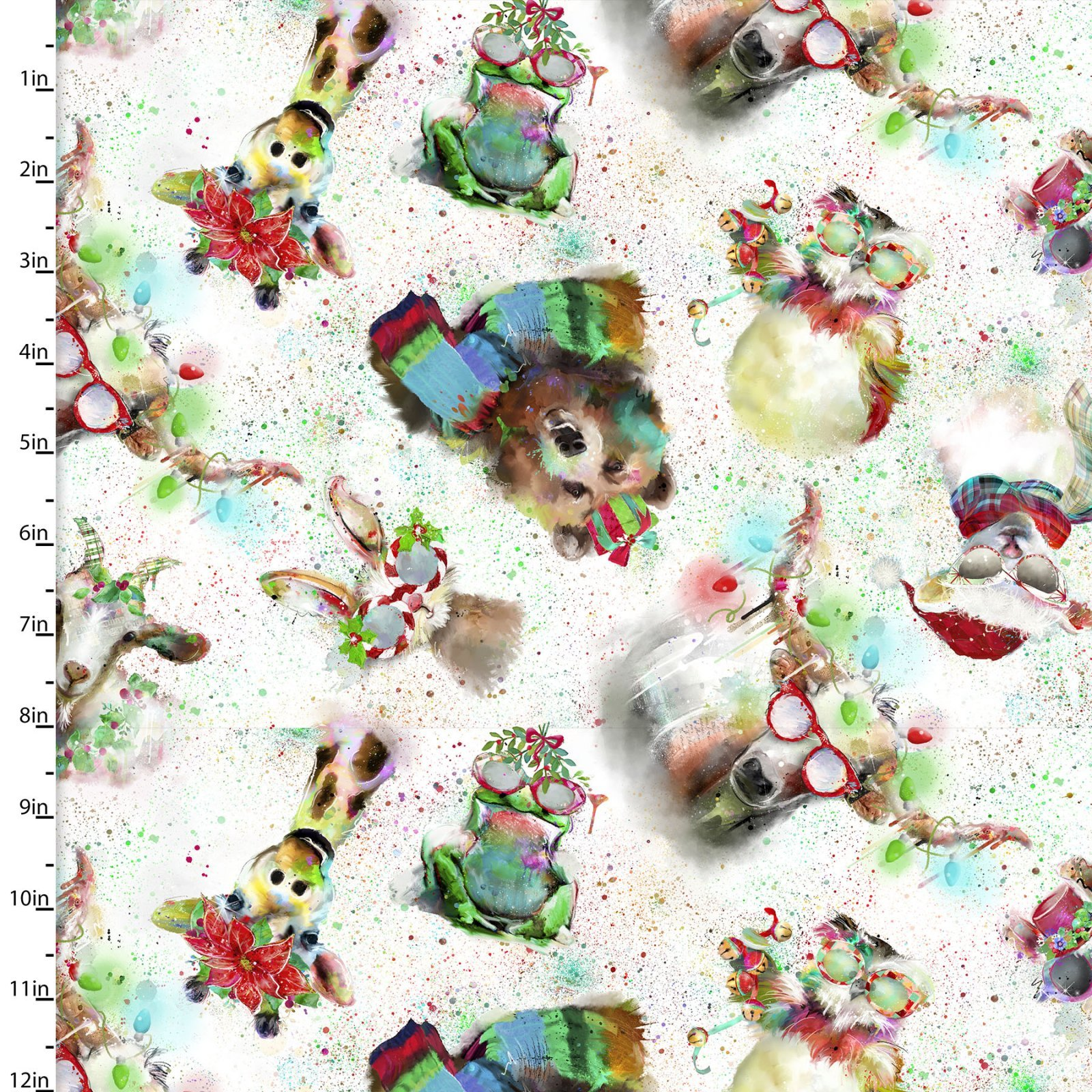 Sassy Holiday - Tossed Animals (Remnant: 1-7/8 yds)
