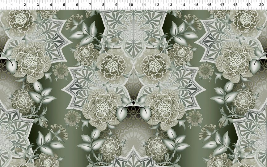 Bohemian Manor II - Large Floral Medallion - Taupe