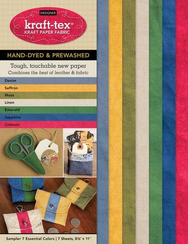 Kraft-Tex DESIGNER Sampler 7 Essential Colors Hand-Dyed & Prewashed - Kraft Paper Fabric (7 Sheets, 8.5 x 11)