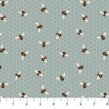 Bee Kind - Honeycomb Bee - Blue (Remnant: 1-3/4 yds)