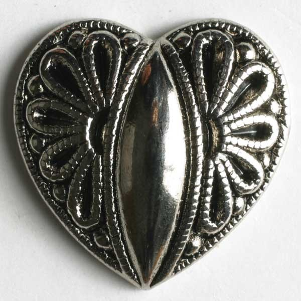 Heart Metal Button - Antique Silver