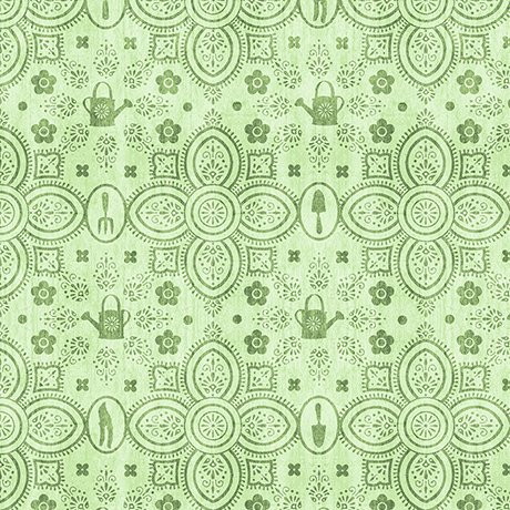 A Gardening We Grow - Garden Damask - Green