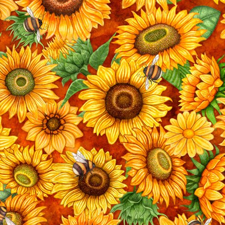 Always Face the Sunshine - Packed Sunflowers - Rust