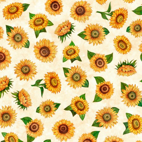 Always Face the Sunshine - Small Tossed Sunflowers - Cream