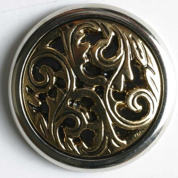 Metal/Polyamid Combination Button - Antique Gold
