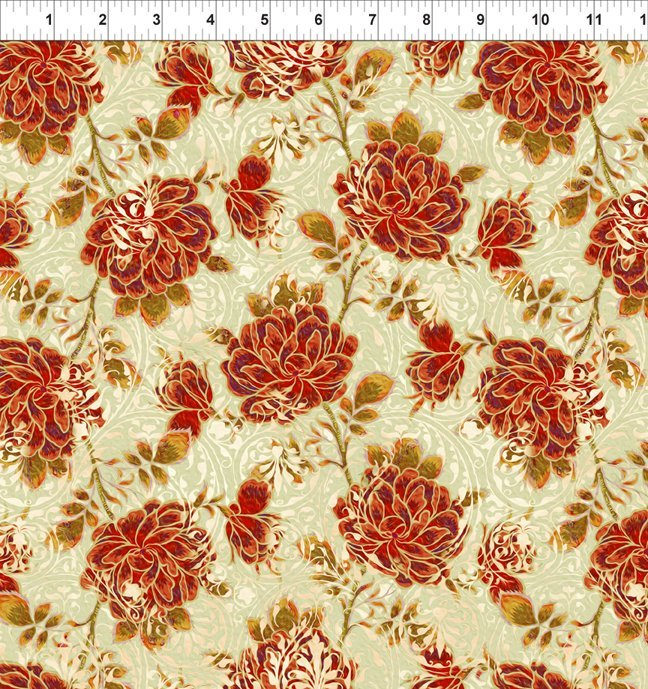 Pastiche - Rose Vine - Red/Cream (Remnant: 1-3/4 yds)