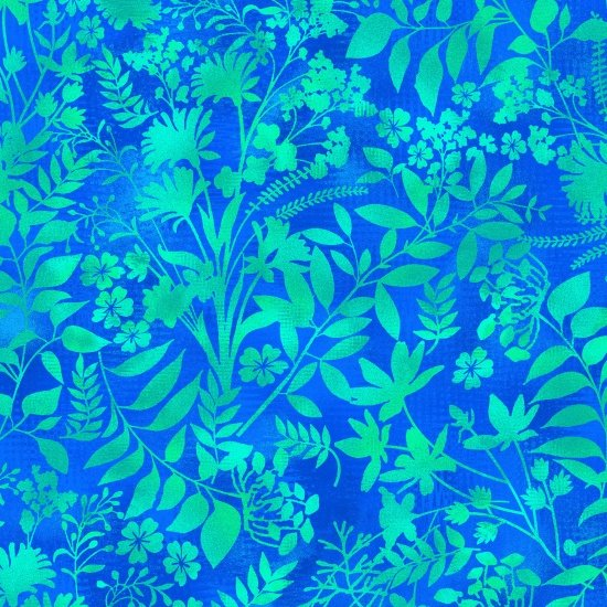 Aflutter - Wildflower & Fern Silhouette - Aqua