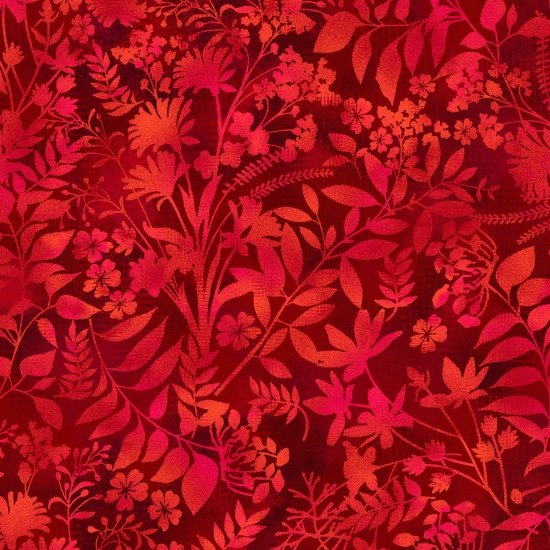 Aflutter - Wildflower & Fern Silhouette - Red (Remnant: 1-3/4 yds)