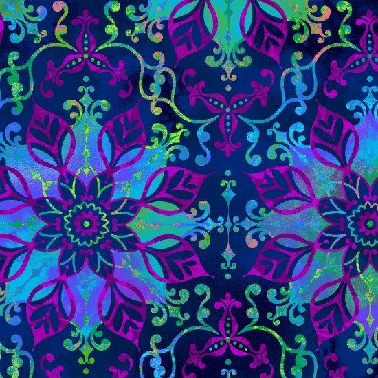 Aflutter - Floral Medallion - Blue