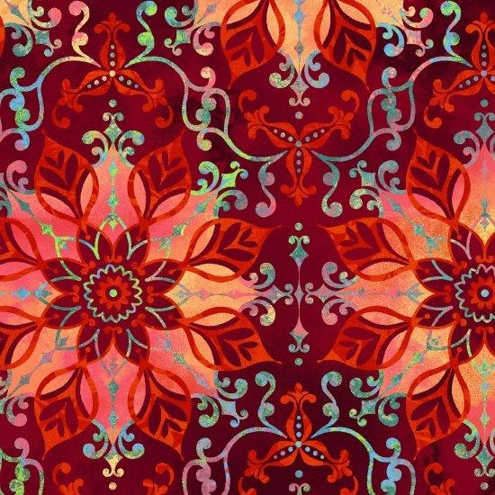 Aflutter - Floral Medallion - Red
