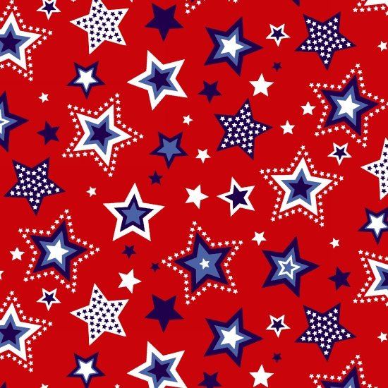 Red, White & Starry Blue - Large Stars - Red