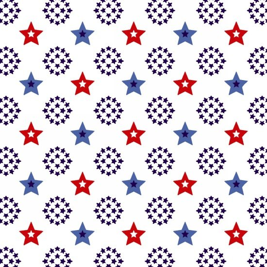 Red, White & Starry Blue - Small Stars - White
