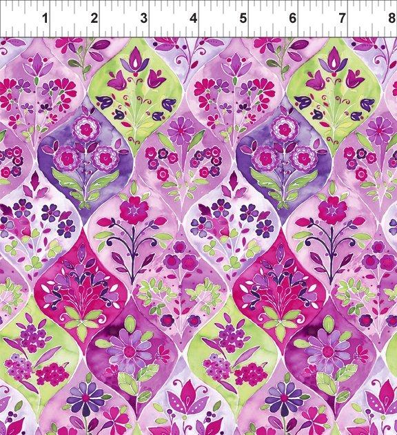 Ajisai - Ogee Floral - Purple (Remnant: 1-7/8 yds)