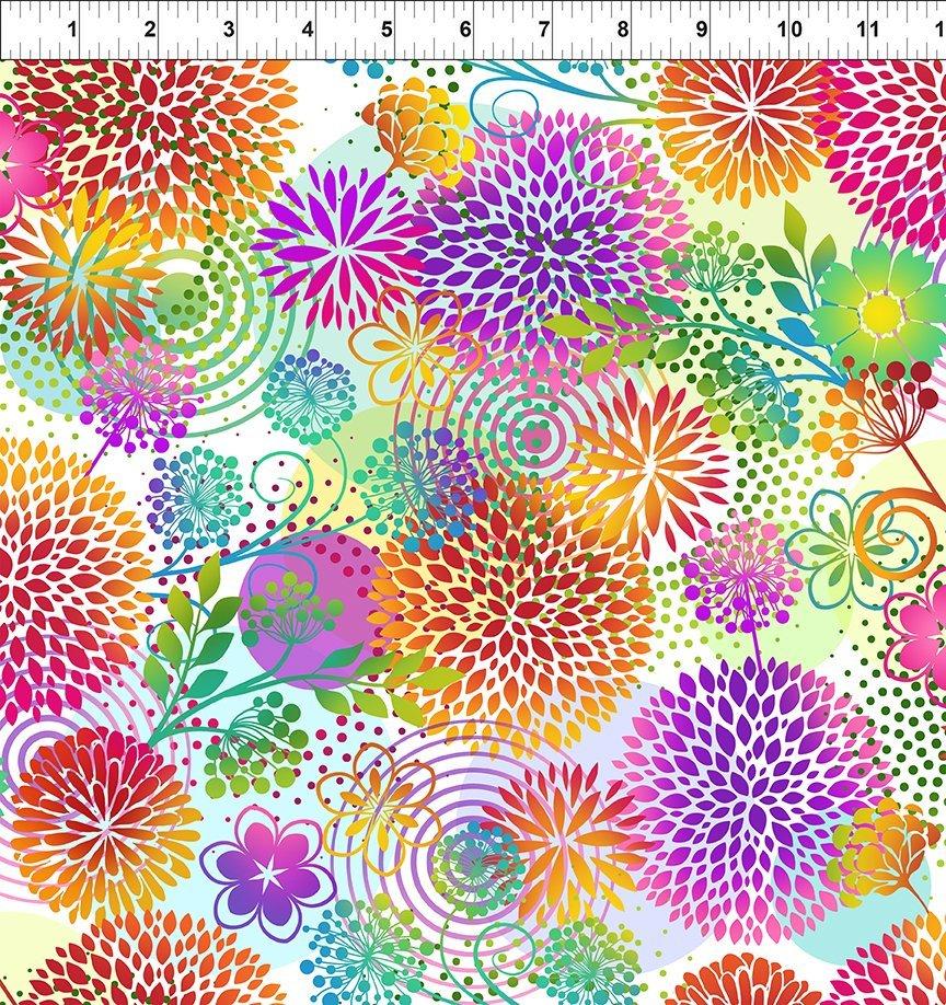 Unusual Garden II - Large Flowers - White/Multi
