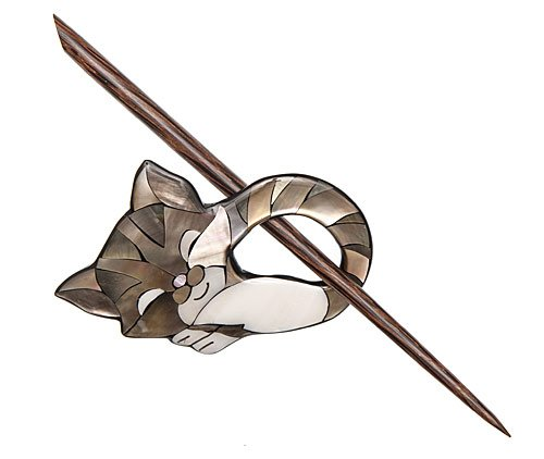 Sleeping Cat Shawl Pin - Shell