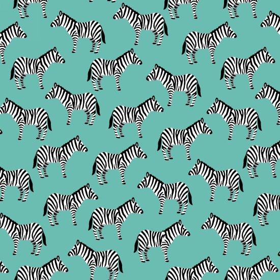 Little Explorers - Zebras - Teal (Remnant: 1-7/8 yds)