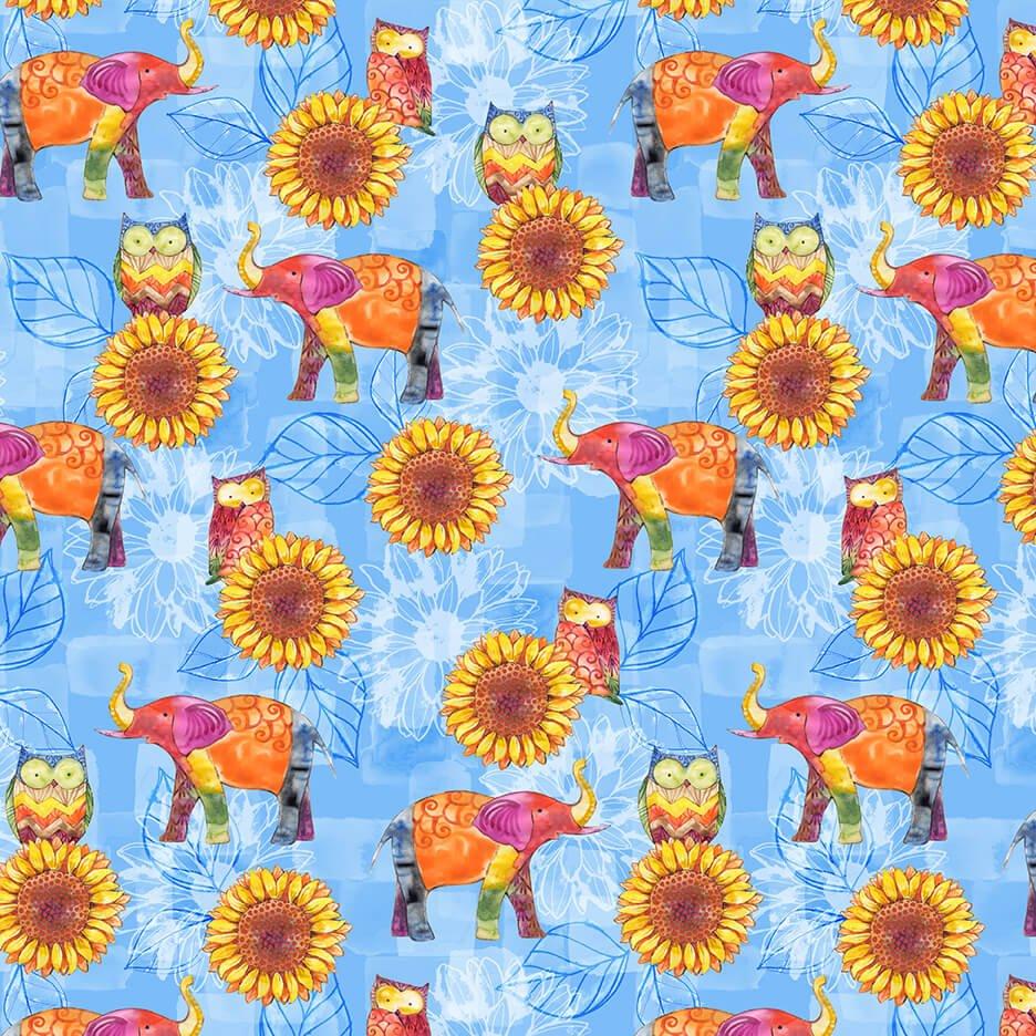 Color My World - Elephants & Sunflower Allover - Blue