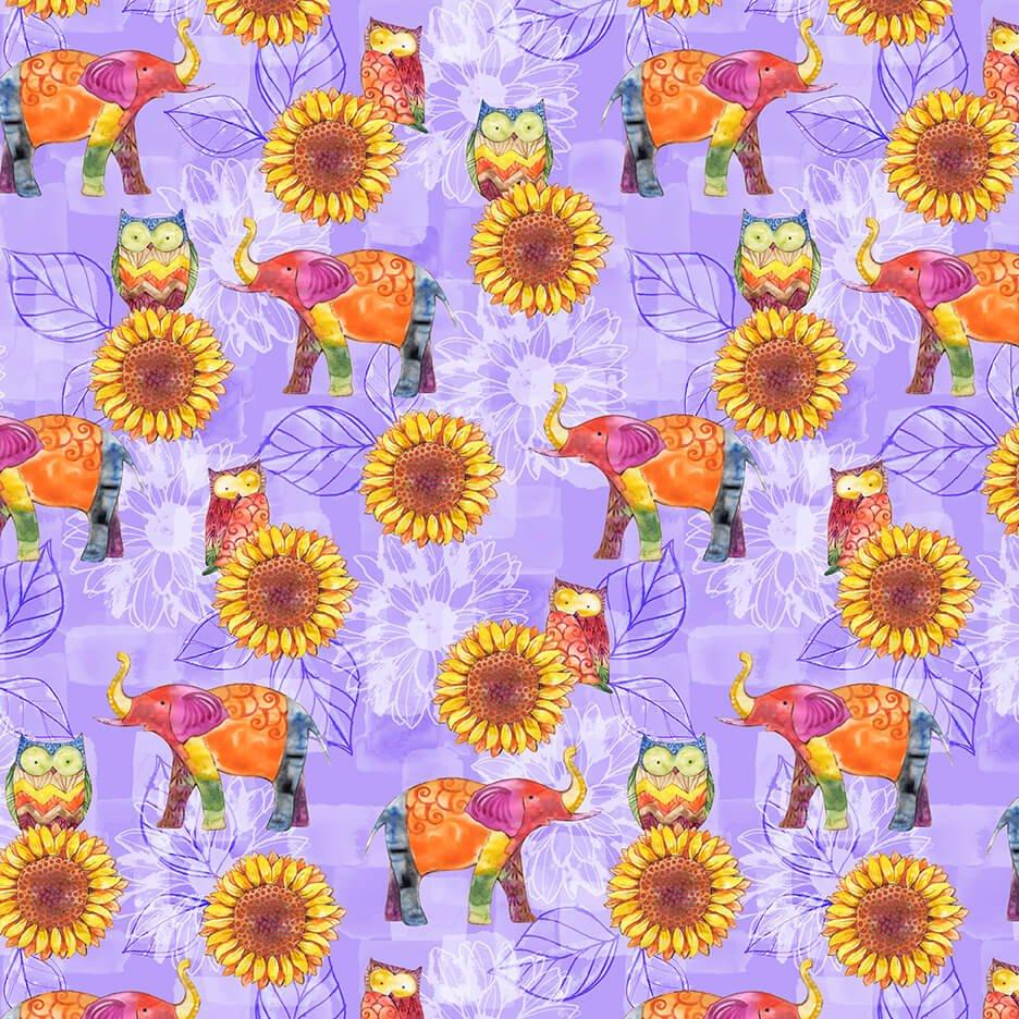 Color My World - Elephants & Sunflower Allover - Purple
