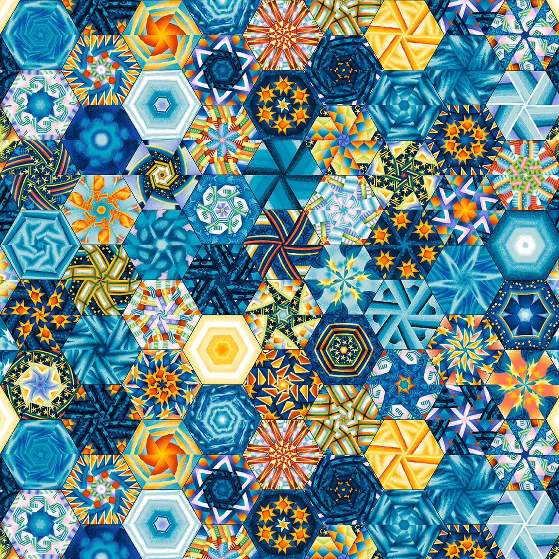 The Lightkeeper's Quilt - Hexies (Remnant: 1-7/8 yds)