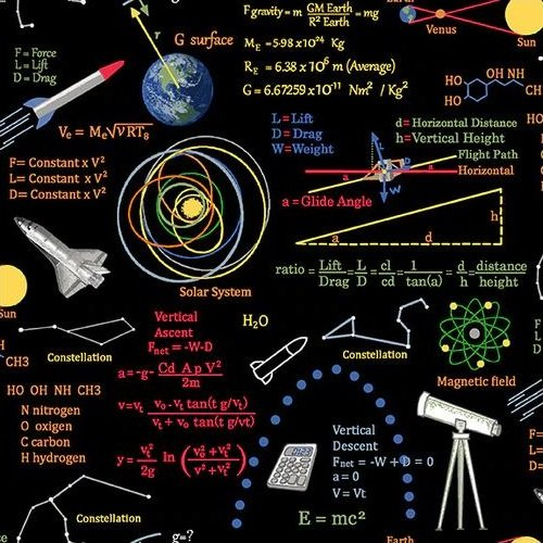 Planetary Missions - Graphics & Formulas (Remnant: 1-3/4 yds)