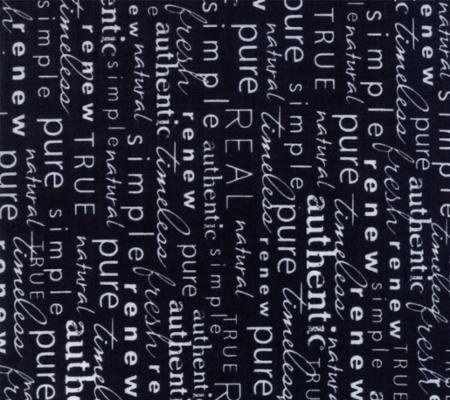 Authentic Etc. - Word Play - Black (Remnant: 1-7/8 yds)