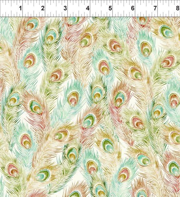 Bohemian Manor II - Feathers - Peach/Teal