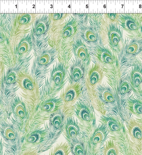 Bohemian Manor II - Feathers - Olive/Teal