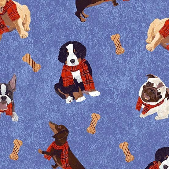 Ruff Life - Dogs - Blue (Remnant: 2-1/8 yds)