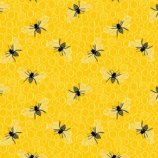 Sunny Bee - Bee and Comb - Yellow (Remnant: 1-2/3 yds)