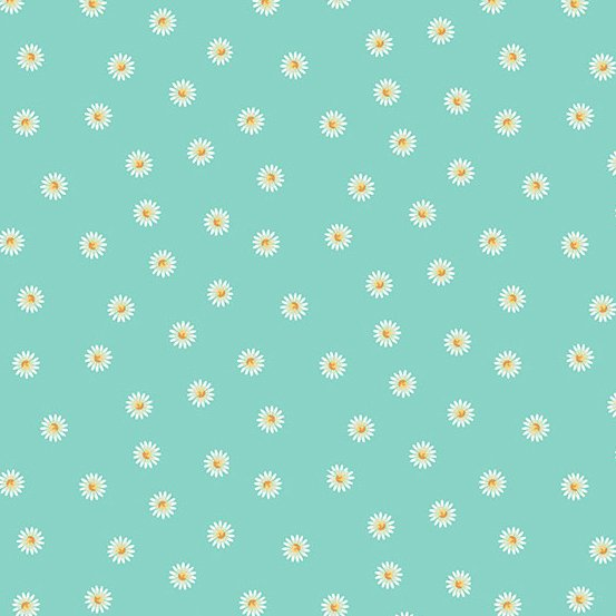 Spring - Daisy - Teal (Remnant: 2 yds)
