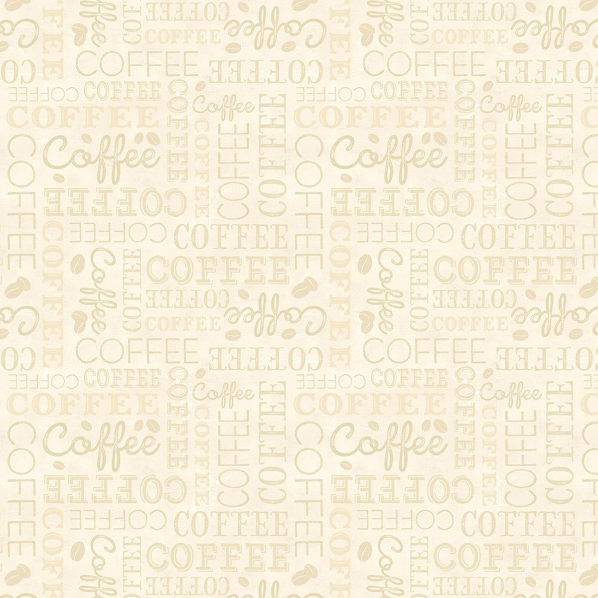 Coffee Time - Words - Cream (Remnant: 1-7/8 yds)